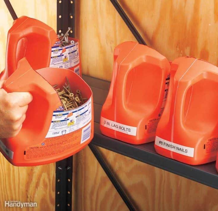 Reuse Laundry Detergent Bottles for Garage Storage