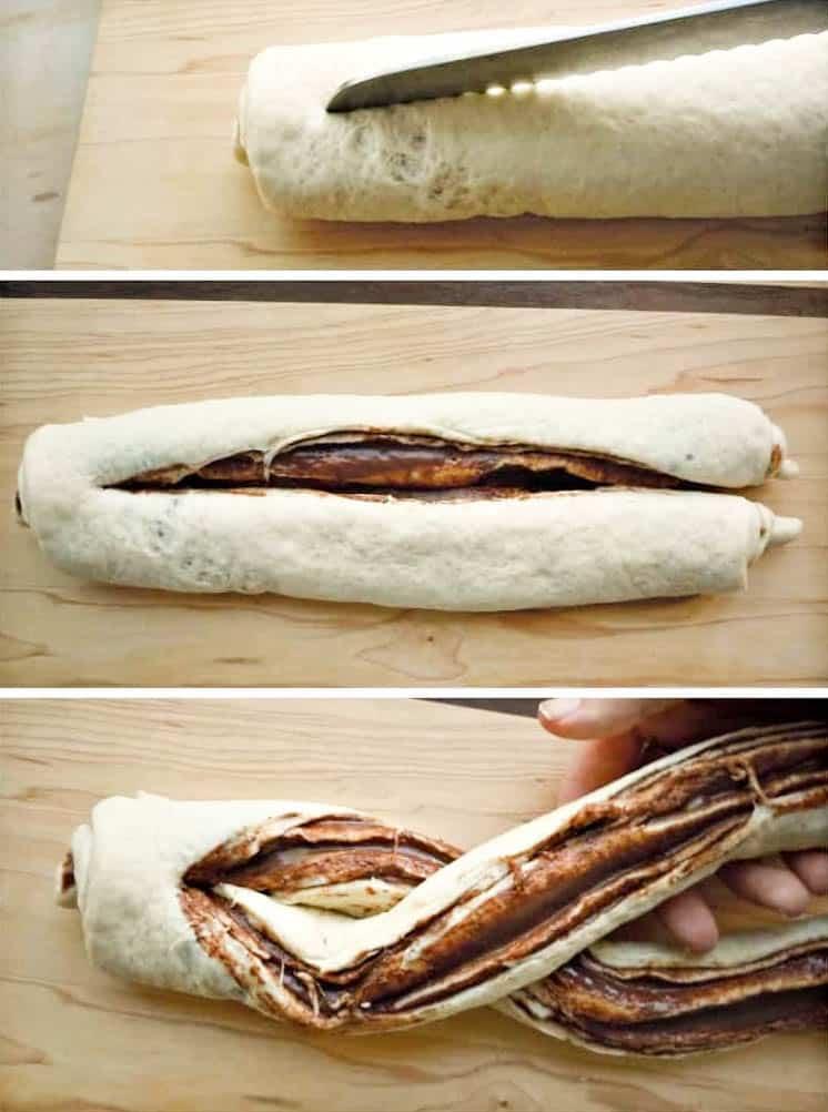 nutella braided bread being braided