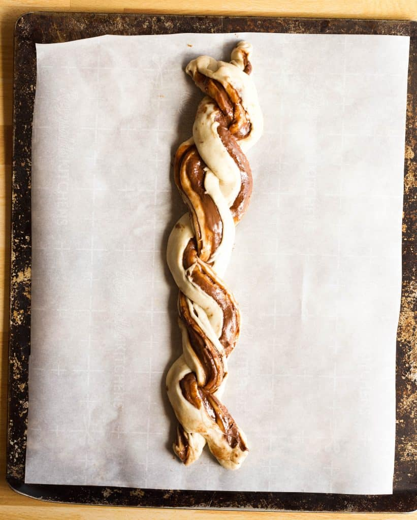 nutella braided bread braided on a pan