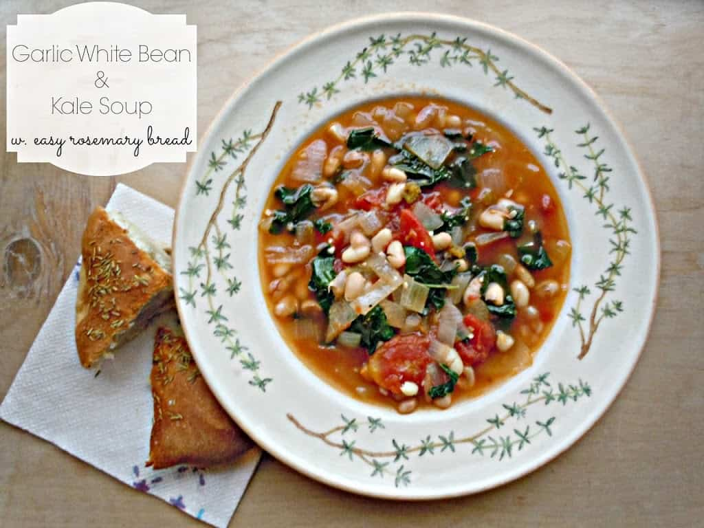 Garlic White Bean & Kale Soup w. Easy Rosemary Bread - Life a Little ...