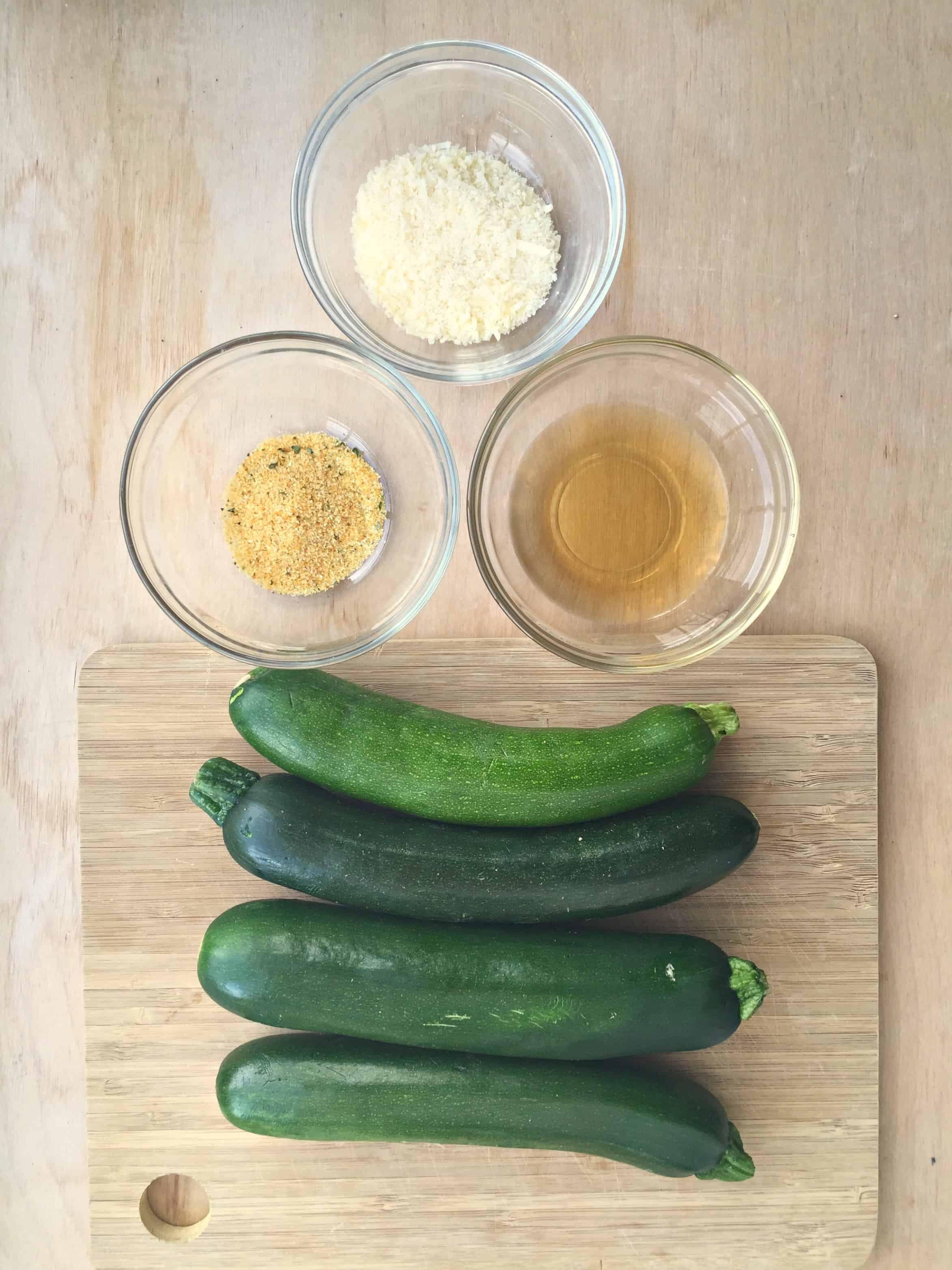 baked zucchini chips ingredients laid out