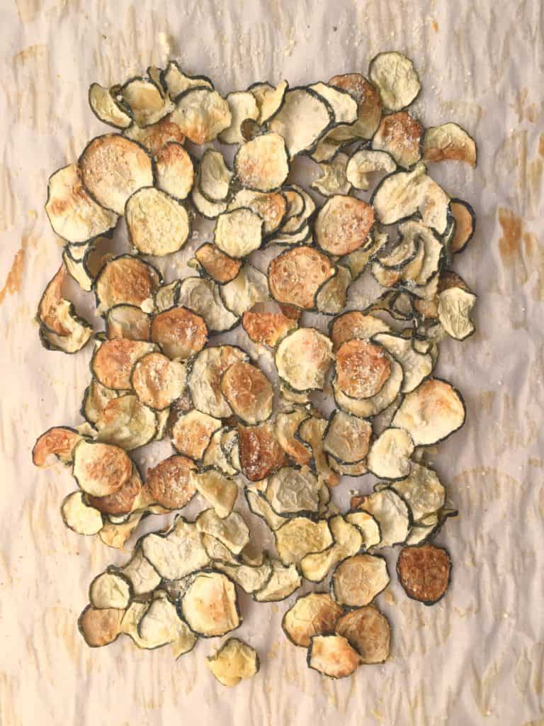 sliced zucchini chips baked