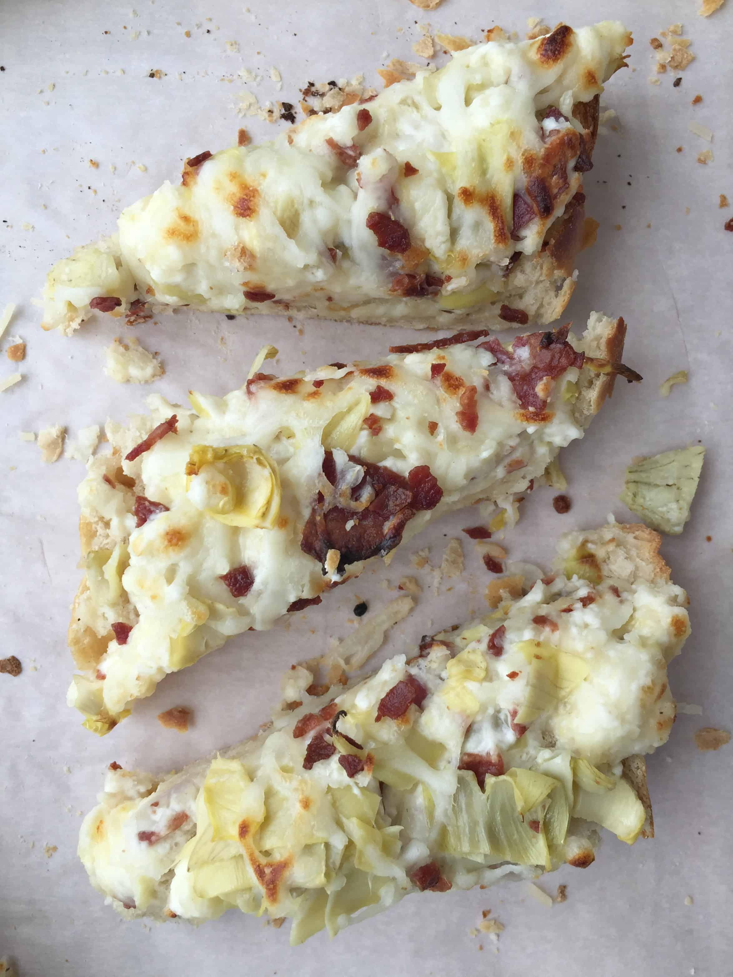 Asiago Artichoke French Bread Pizza w. Bacon