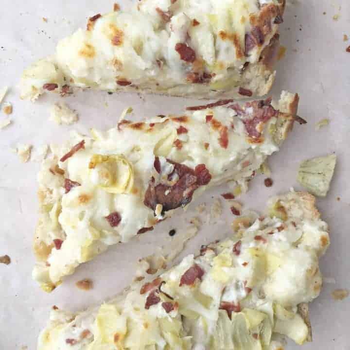 Asiago Artichoke French Bread White Pizza w. Bacon