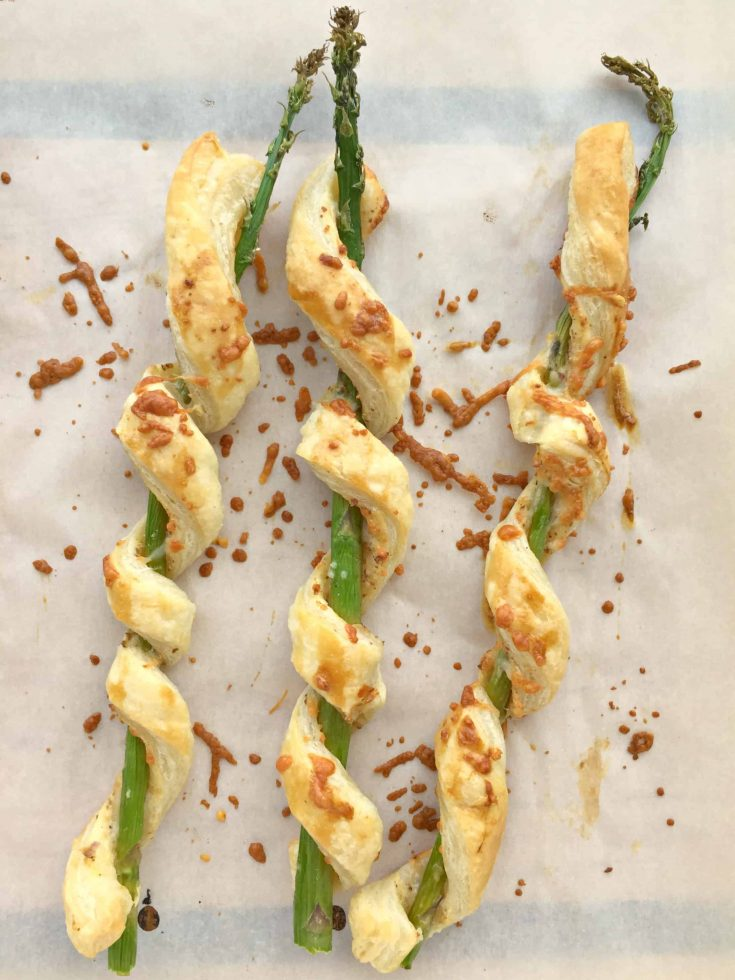 Parmesan Puff Pastry-Wrapped Asparagus
