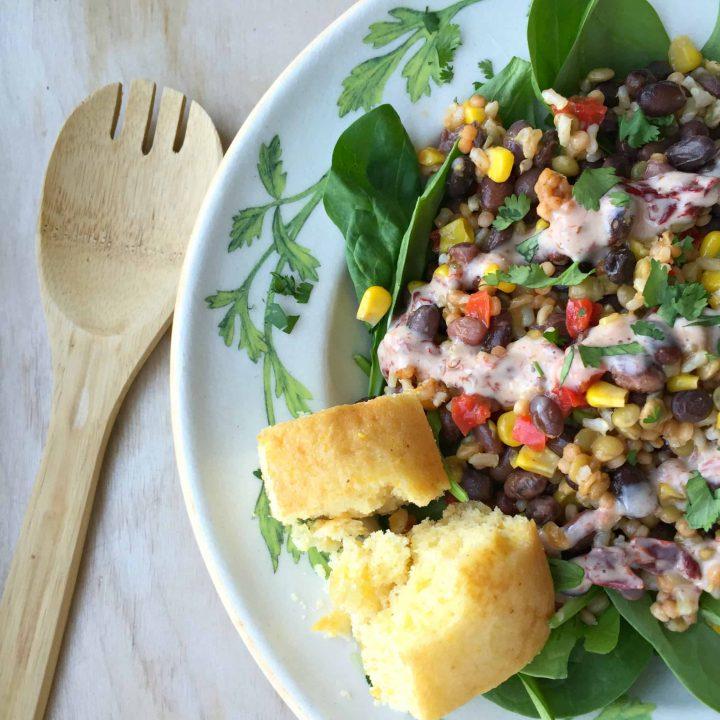 Southwest Black Bean & 3-Grain One-Pan Meal {Easy Weeknight Dish}