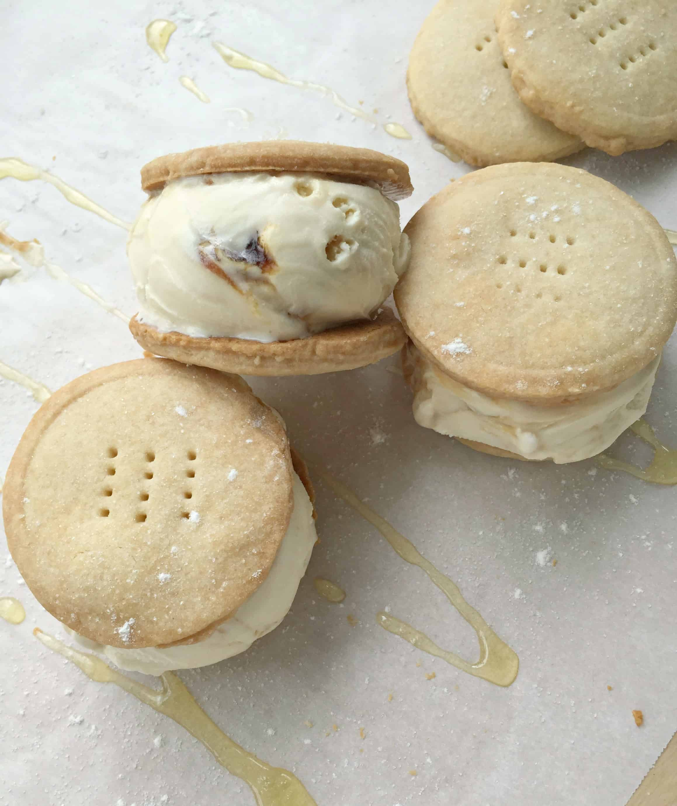 Goat Cheese & Honey Shortbread Ice Cream Sandwiches