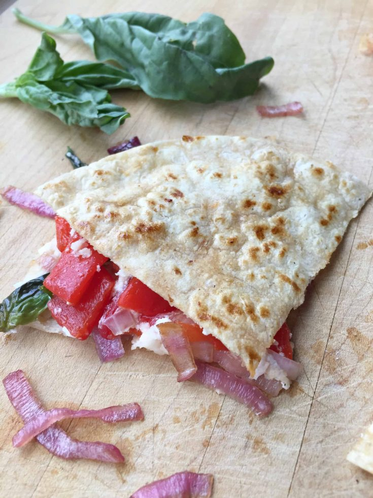 Goat Cheese & Roasted Red Pepper Quesadillas