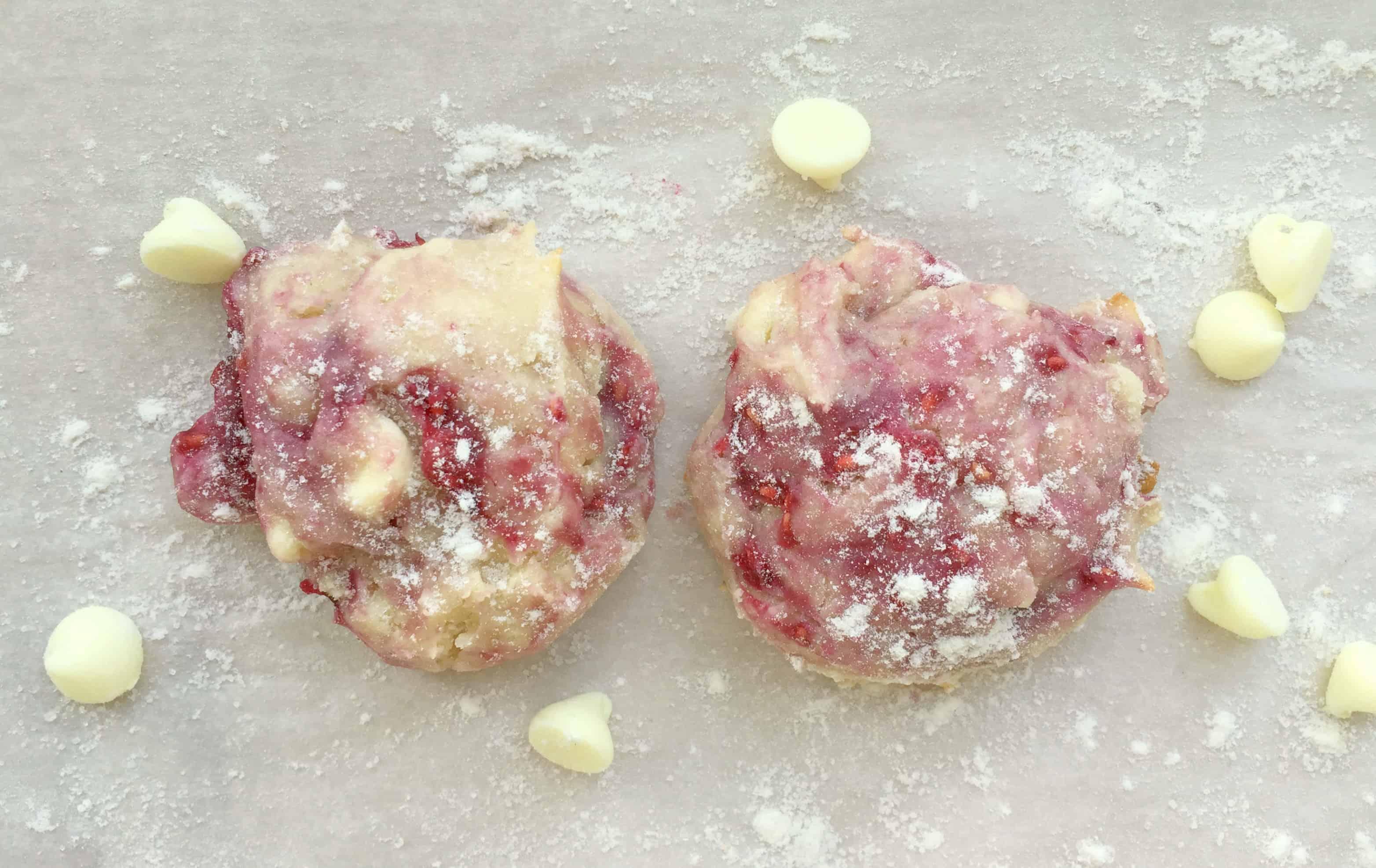 White Chocolate Raspberry Cream Cheese Cookies