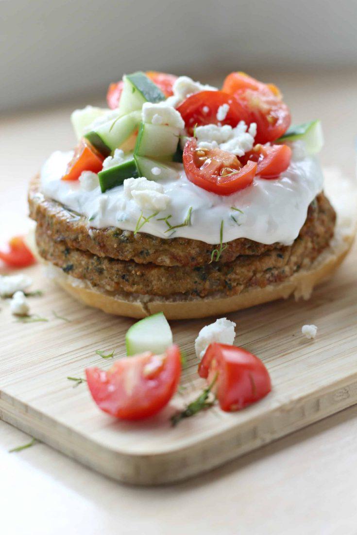Open-Faced Mediterranean Chickpea Burger
