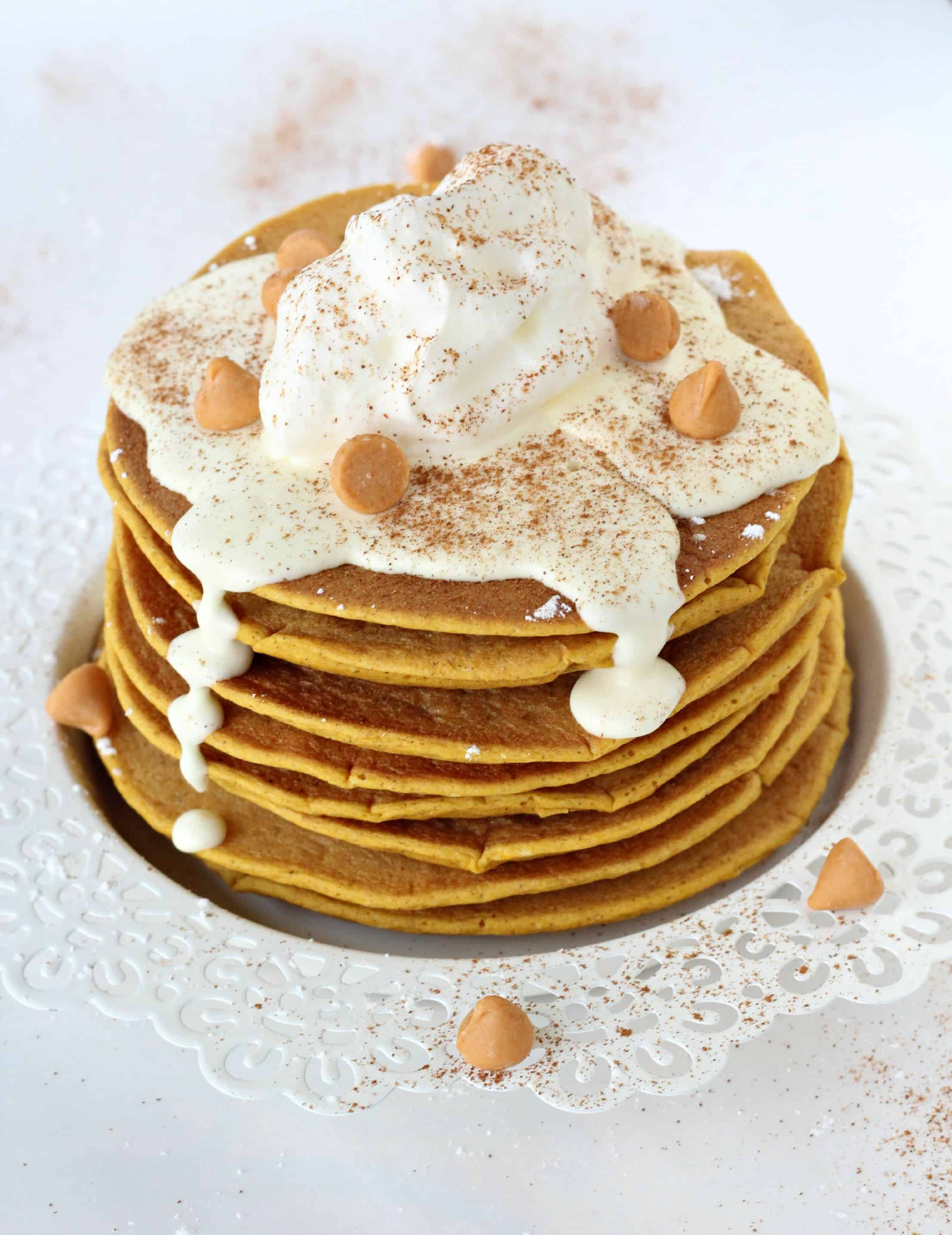 Protein-Packed Pumpkin Pancakes with Cream Cheese Glaze