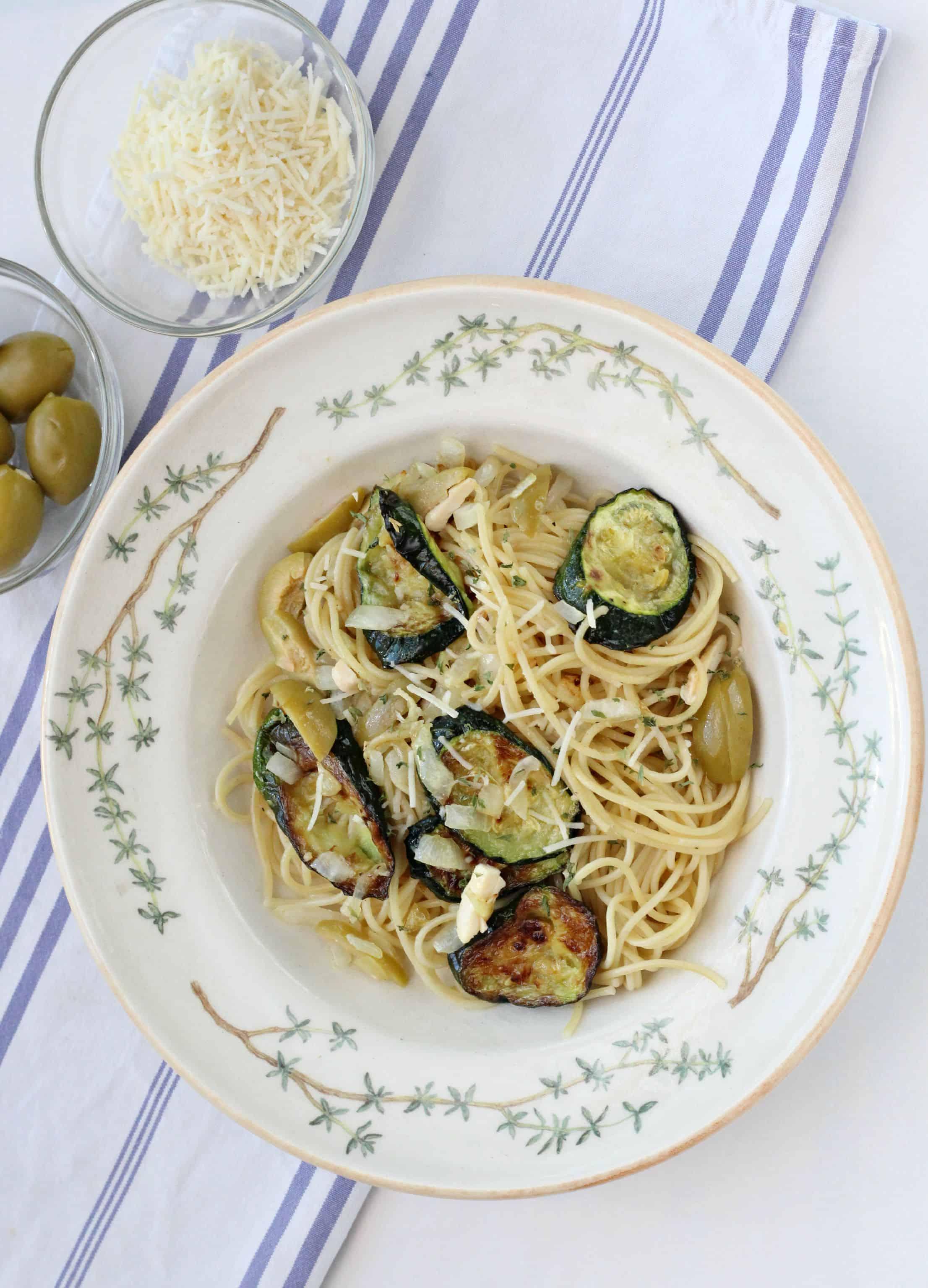 Roasted Zucchini Pasta with Feta & Olives