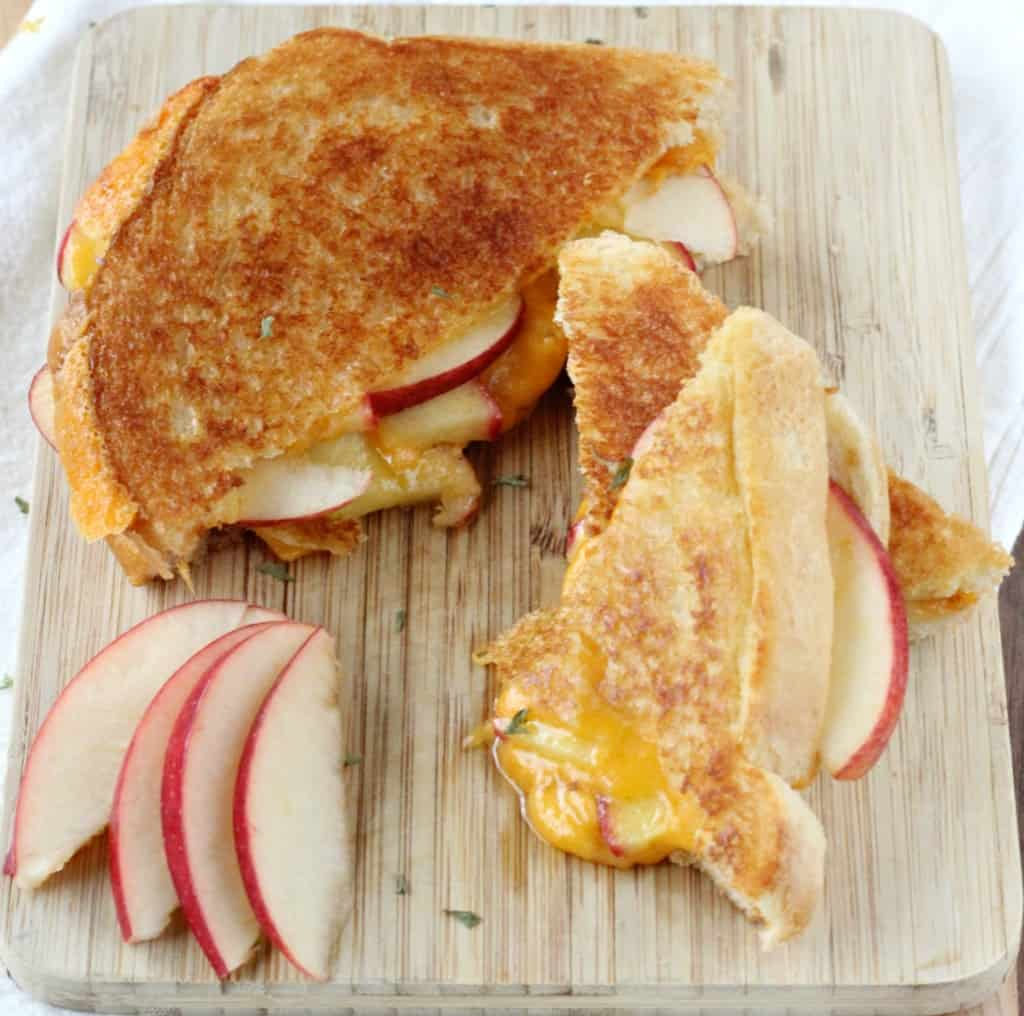 Apple Stuffed Sharp Cheddar Grilled Cheese