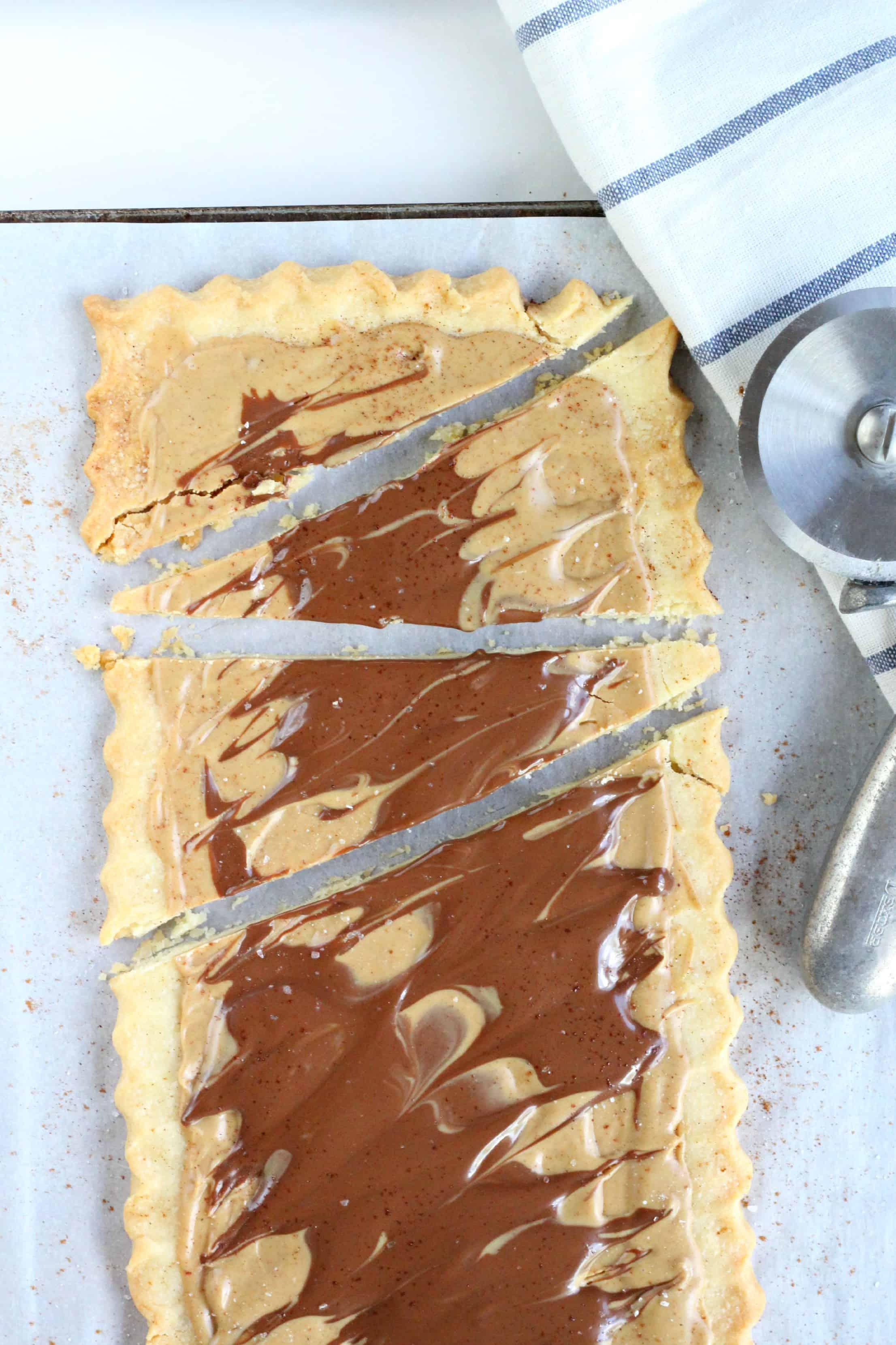 Nutella Peanut Butter Cup Shortbread Tart