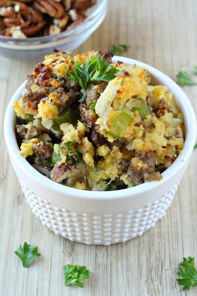 Sausage Cornbread Stuffing - Life a Little Brighter