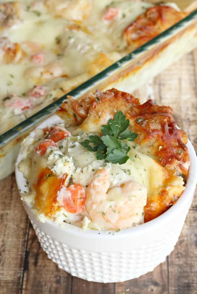 shrimp scampi lasagna with fresh parsley