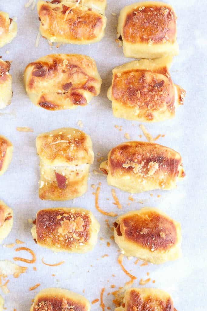 Cheese Pretzel Bites on a cookie sheet