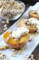 Roasted Peaches with Real Medleys SuperGrains Granola & Greek Yogurt