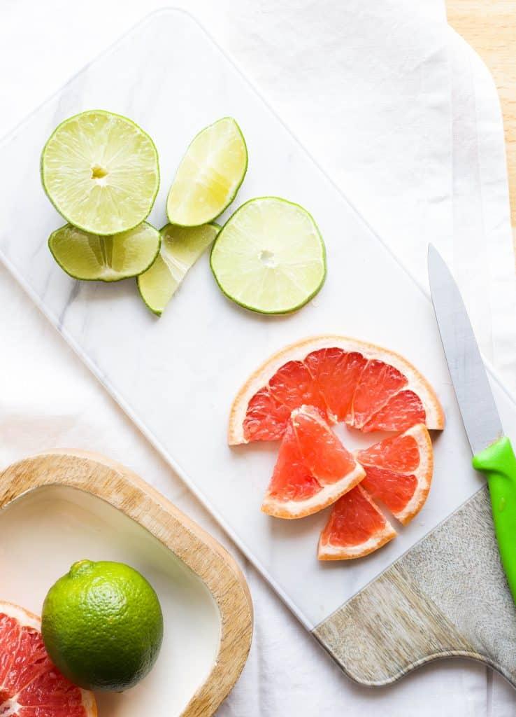 grapefruit and lime garnish