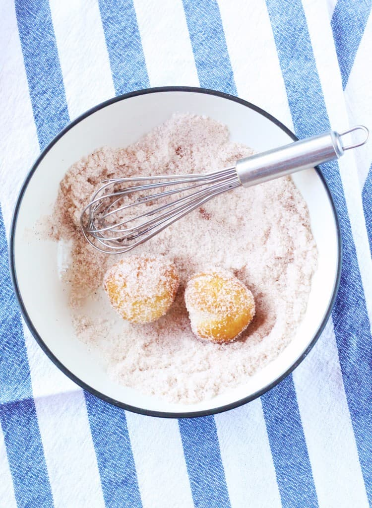 Cream Cheese Donut Holes topped with cinnamon sugar