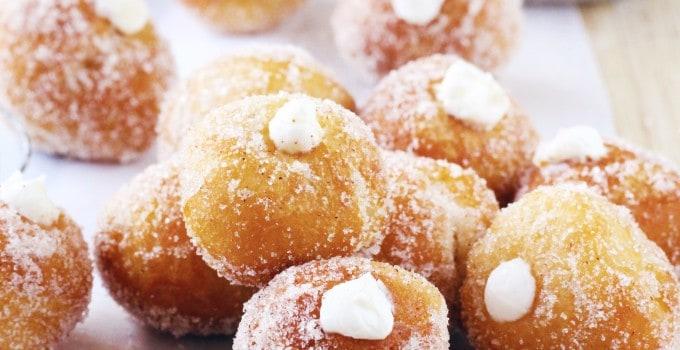 Unbelievably Easy Churro Cheesecake Donut Holes