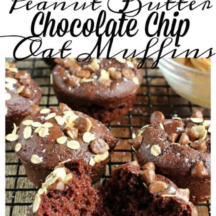 Peanut Butter Chocolate Chip Oat Muffins