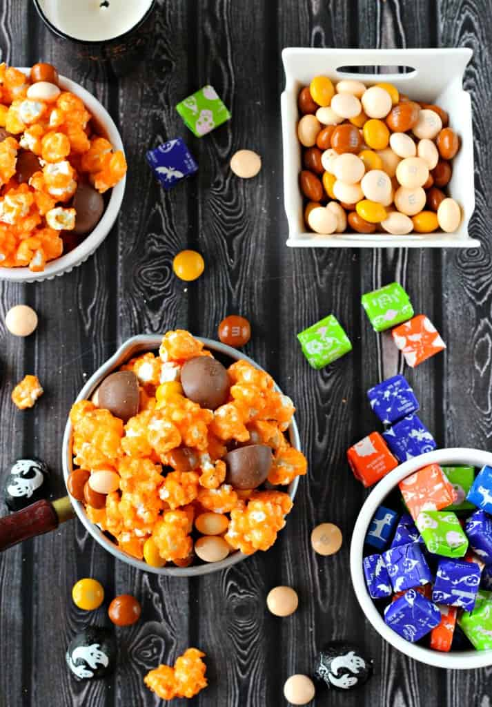 Halloween candy popcorn mix