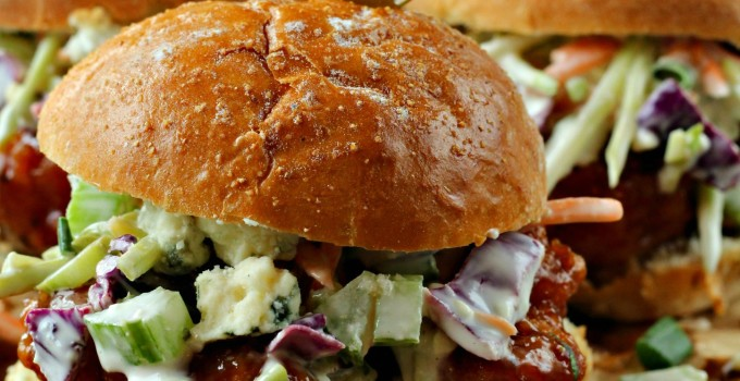 #ad Hot Wing Sliders with Blue Cheese Cole Slaw