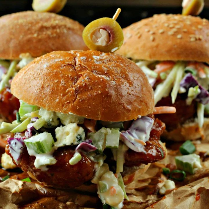 Hot Wing Sliders with Blue Cheese Coleslaw