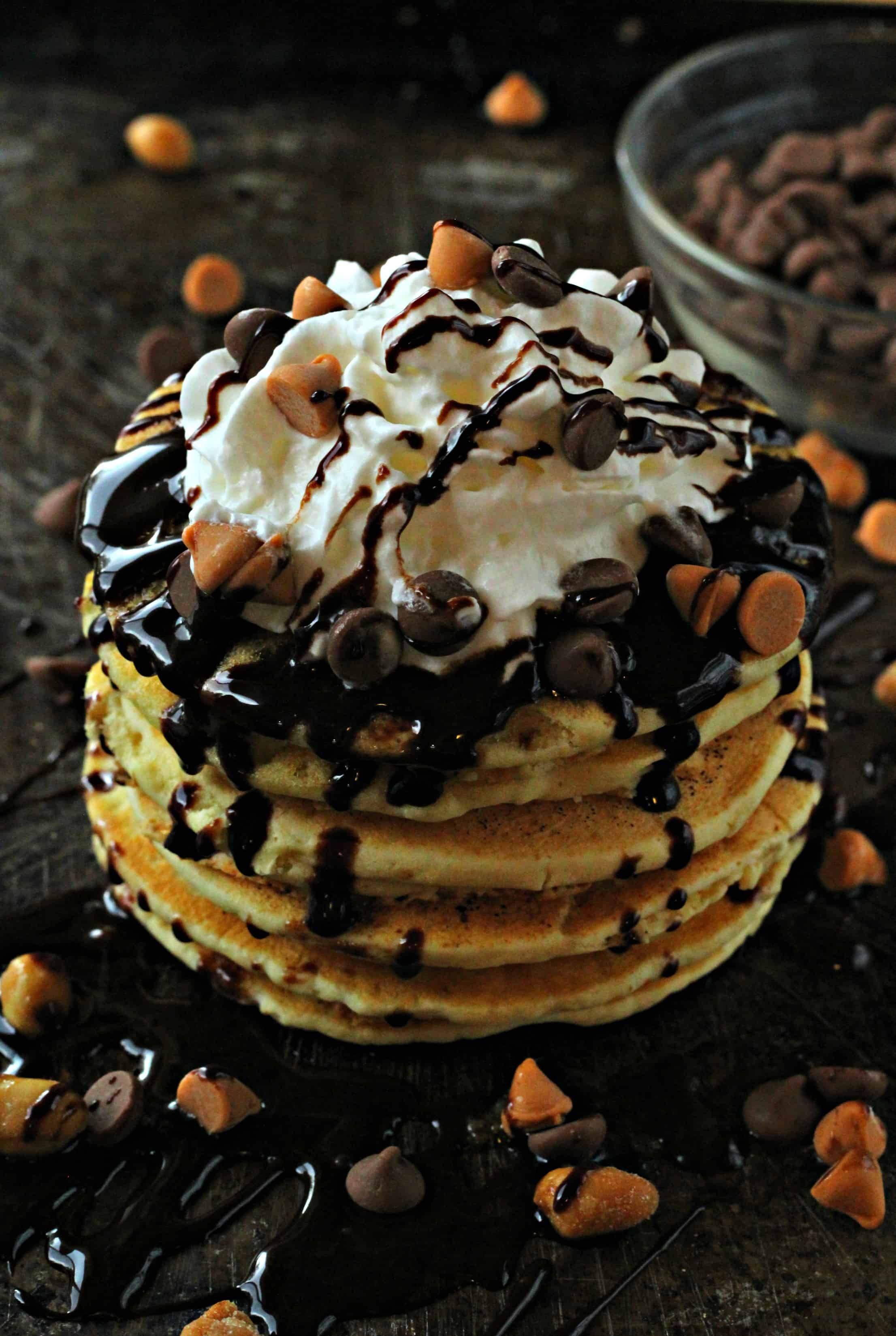 Peanut Butter Chocolate Chip Pancakes - Life a Little Brighter