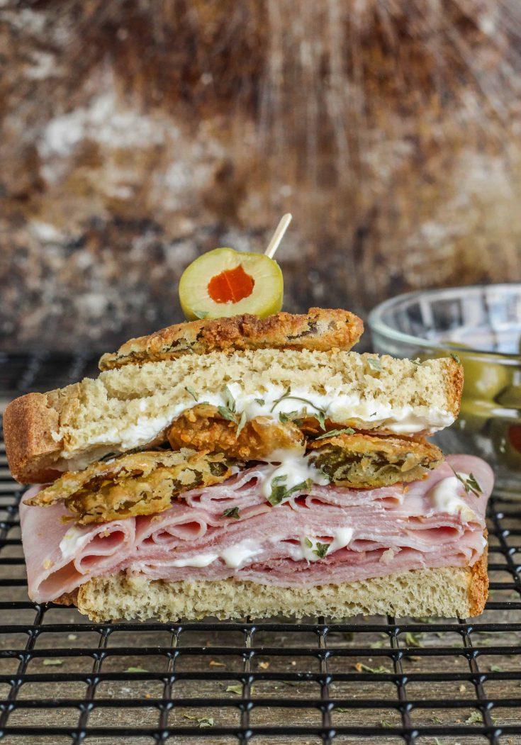 ham + fried pickle roll-up sandwich