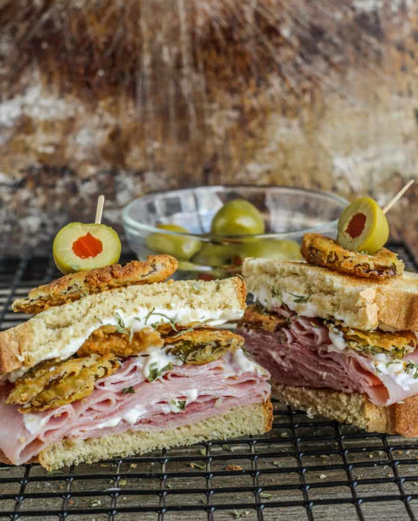 fried pickle roll-up sandwich