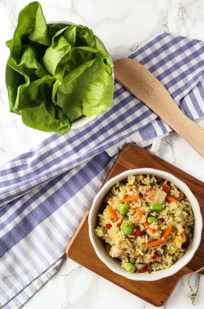 chicken fried rice lettuce wraps
