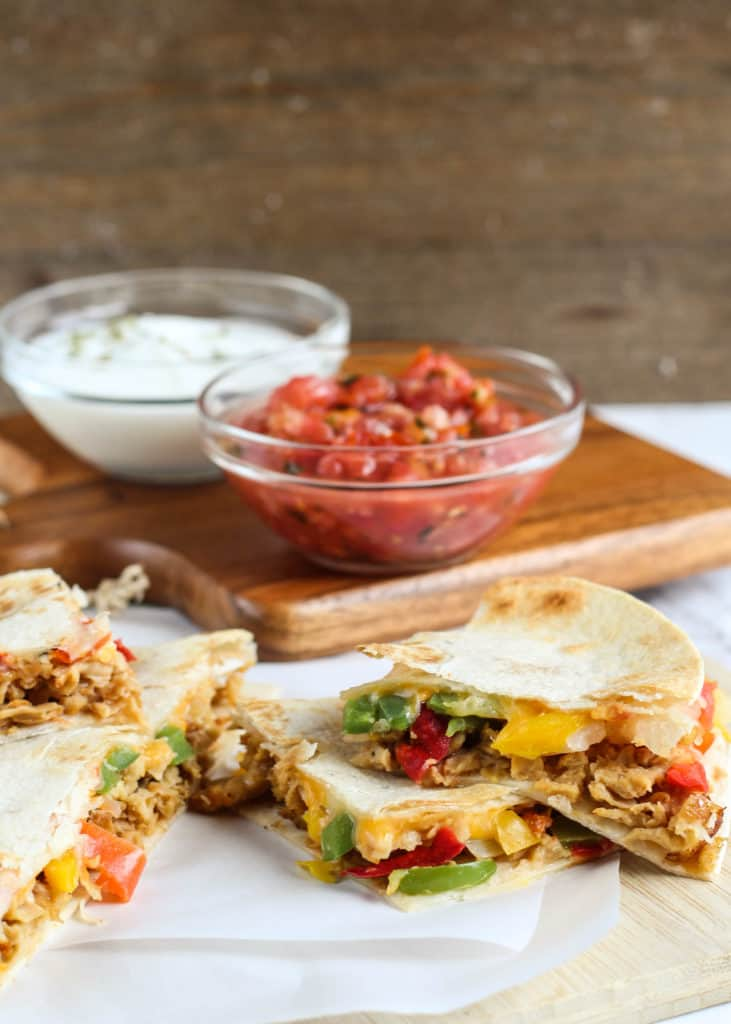 pulled pork fajita quesadillas with sauces