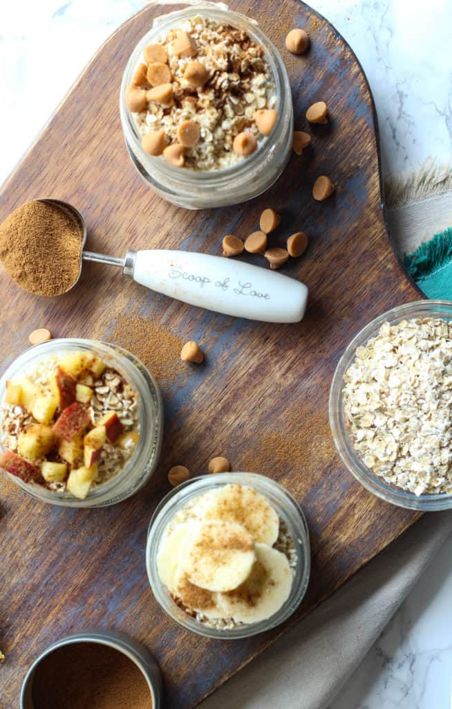 french toast overnight oats with toppings