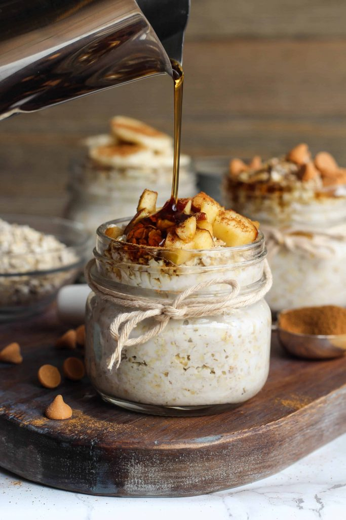 french toast overnight oats with chopped apples on top