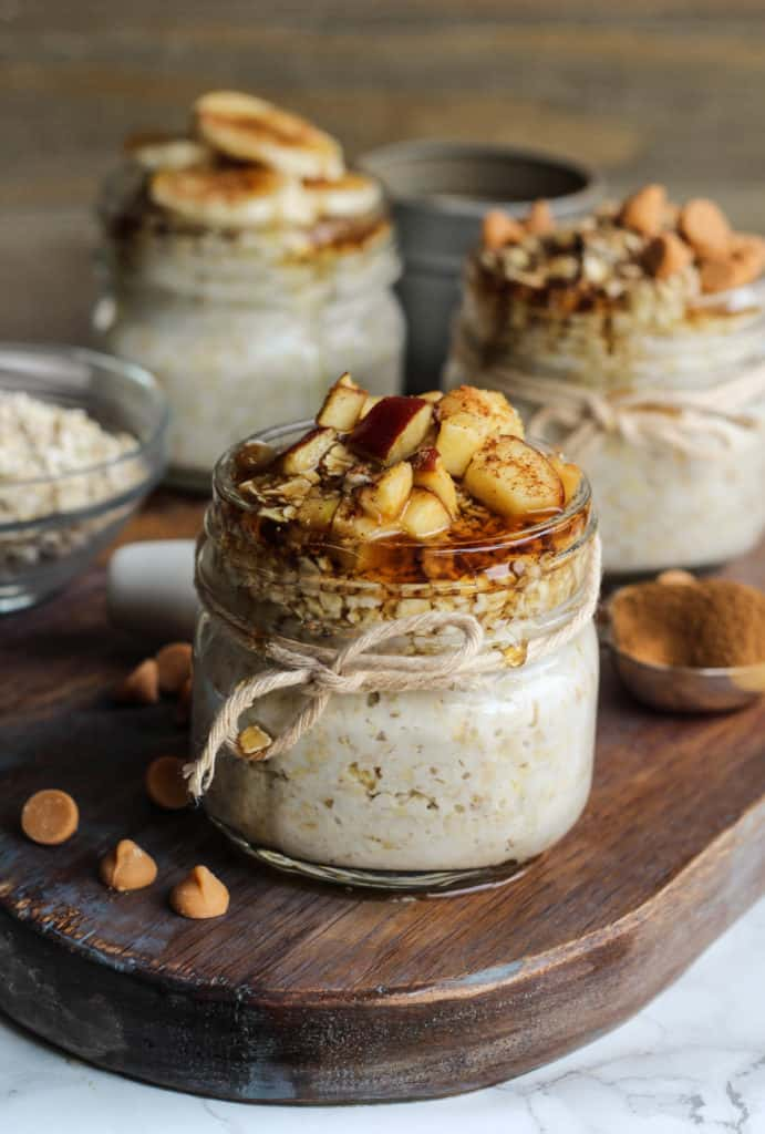 french toast overnight oats topped with maple syrup