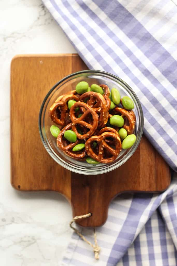 kid-approved snacks pretzels edamame