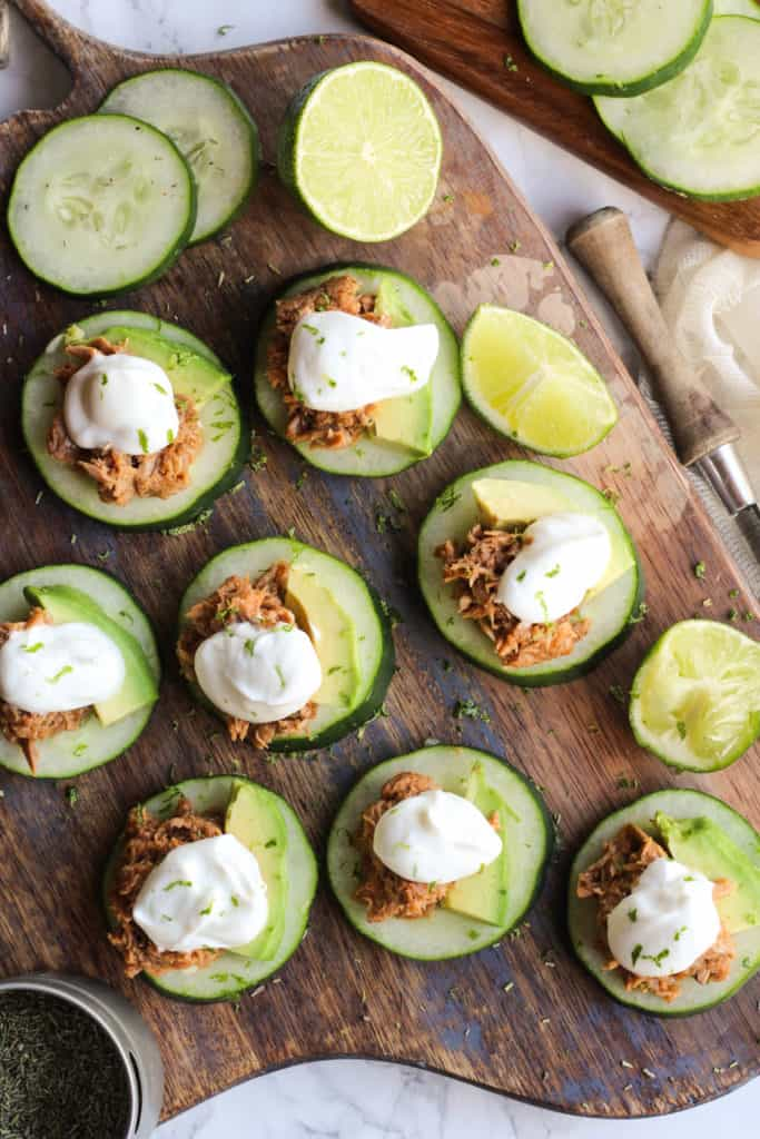 tuna and sour cream topped cucumber slices