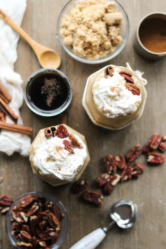 Caramel Frappés topped with whipped cream and pecans