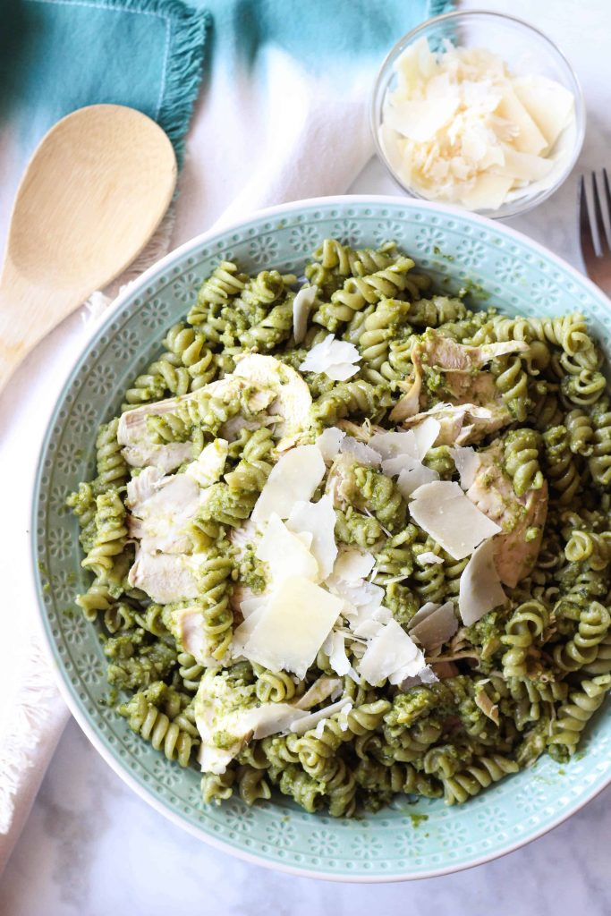4 Ingredient Pesto Chicken Pasta