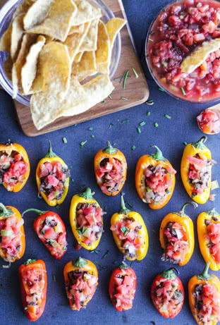 My Party-Saving Salsa (with Mini Stuffed Peppers)
