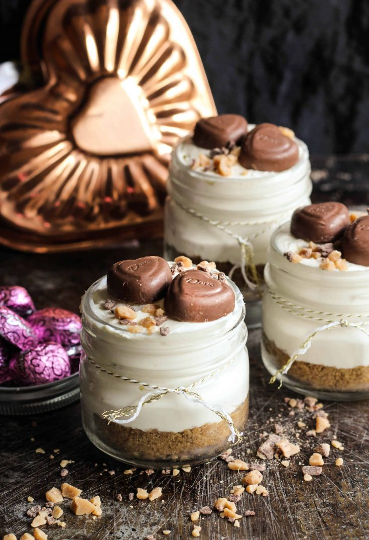 Caramel Toffee No Bake Cheesecakes