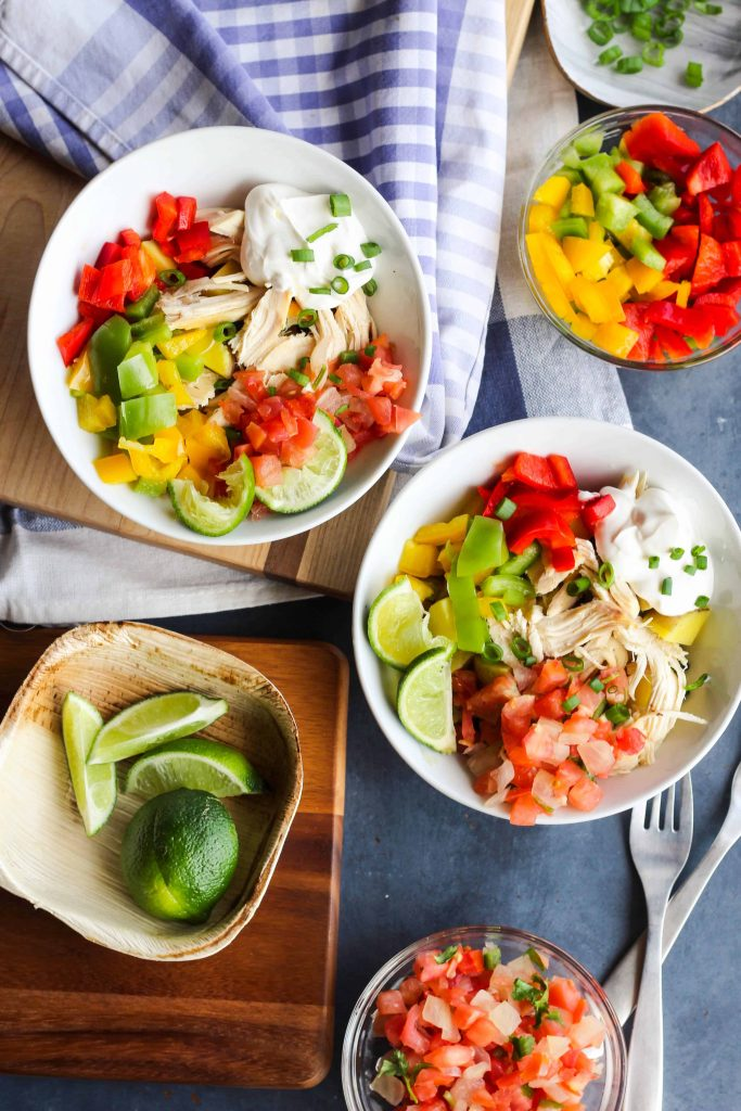 Chicken Fajita Bowls with toppings