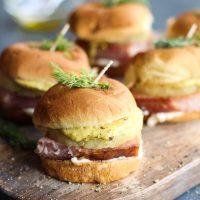 Hawaiian Ham Sliders with Mustard Aioli