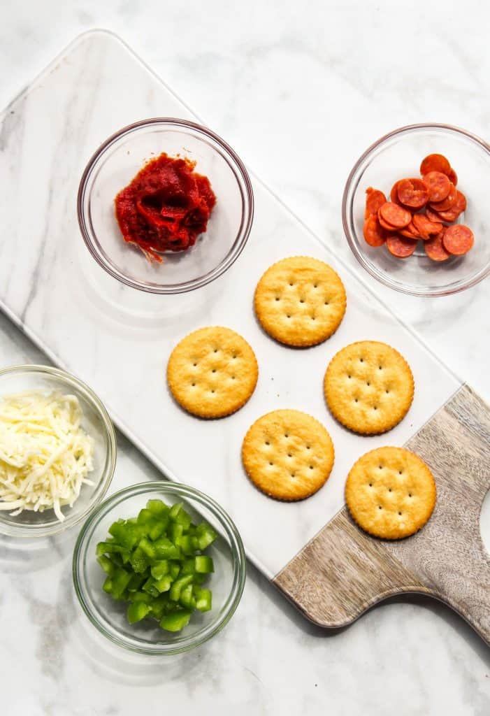 diy mini pepperoni pizzas on ritz crackers