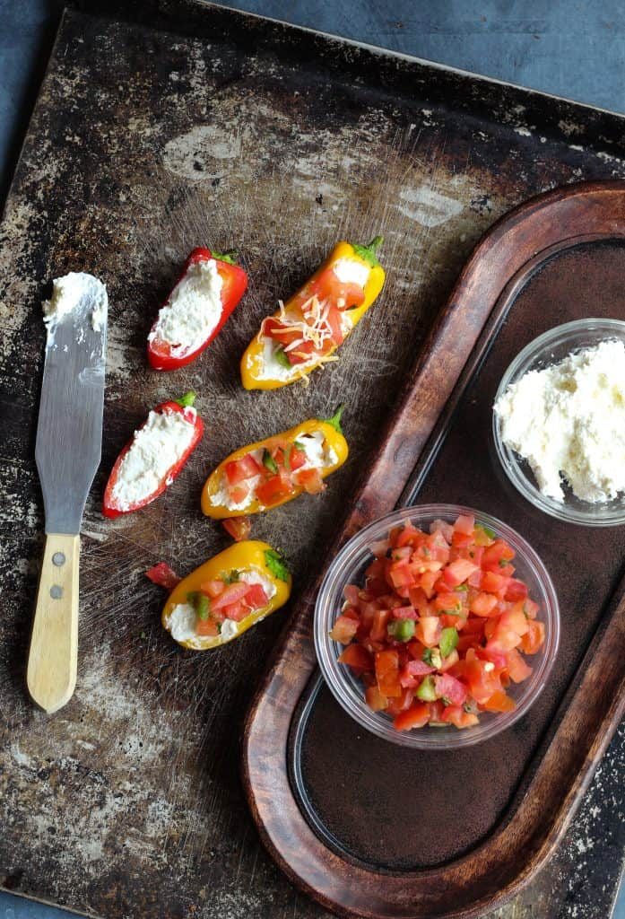 3 ingredient stuffed mini pepper appetizer with cream cheese