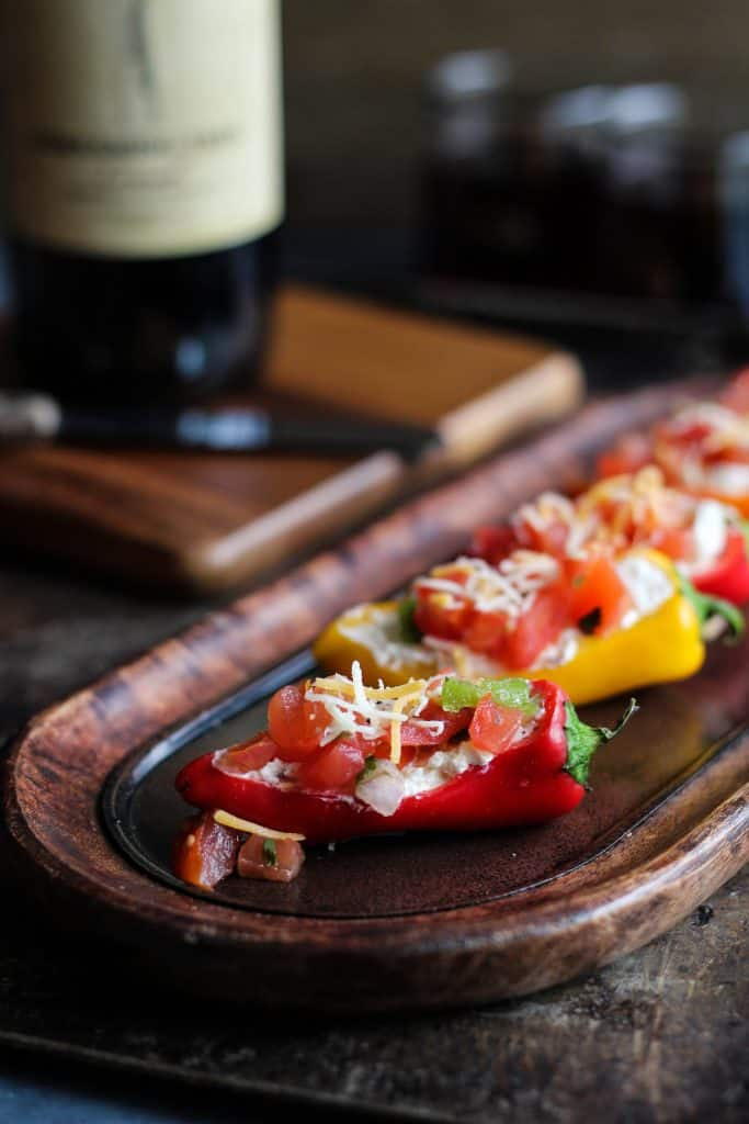 3 ingredient stuffed mini pepper appetizer no bake