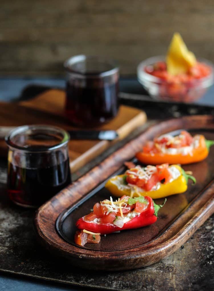 3 ingredient stuffed mini pepper appetizer with red wine