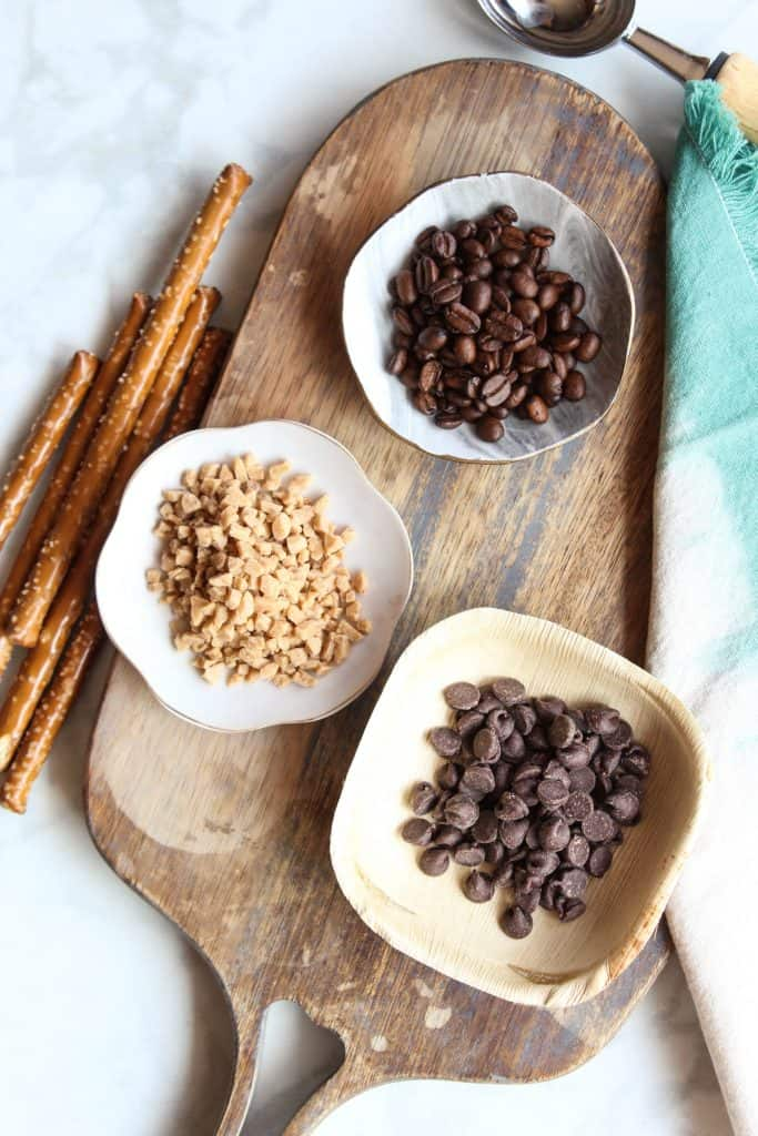 coffee beans and chocolate chip toppings for ice cream